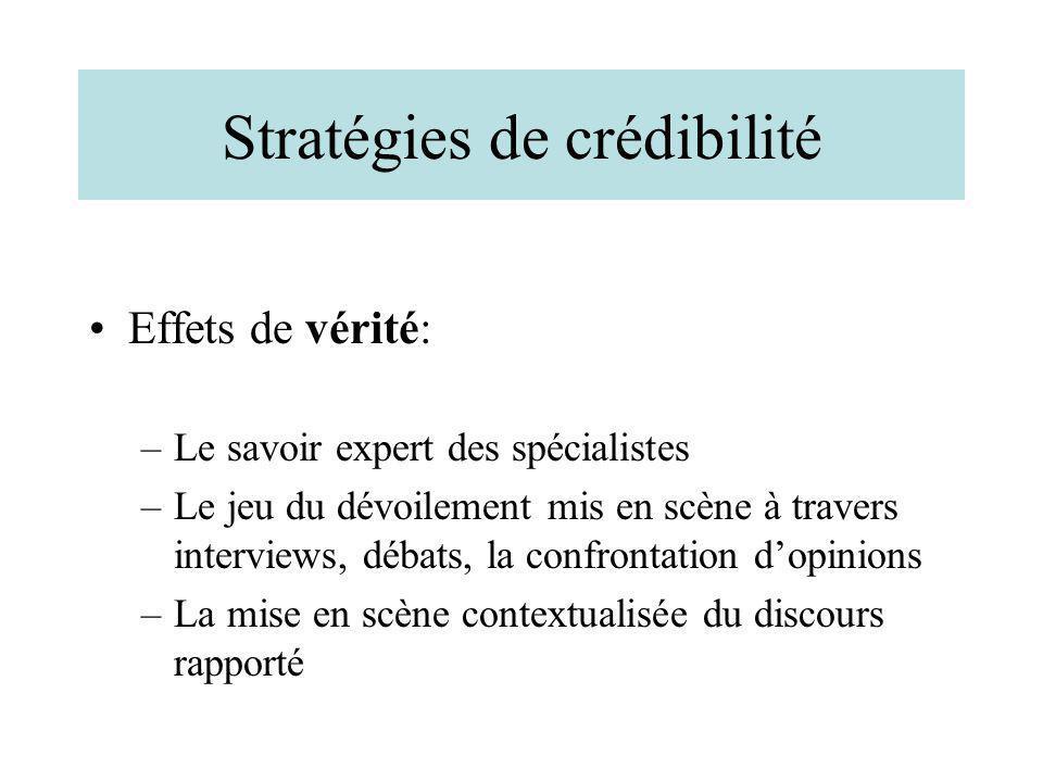 Stratégies de crédibilité Effets de vérité: –Le savoir expert des spécialistes –Le jeu du dévoilement mis en scène à travers interviews, débats, la co