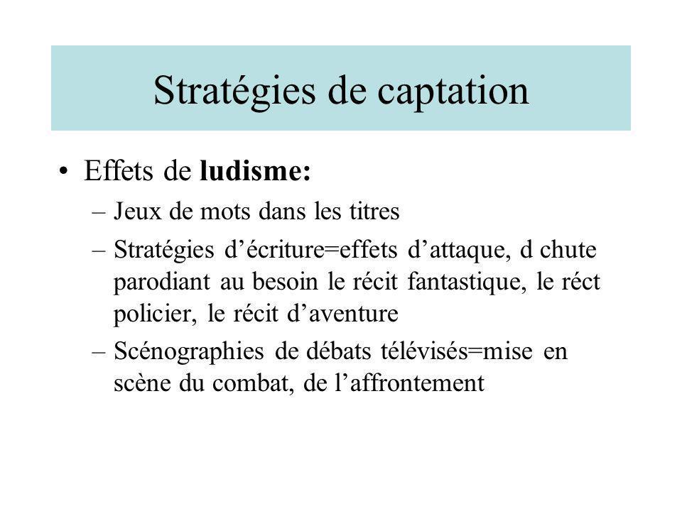 Stratégies de captation Effets de ludisme: –Jeux de mots dans les titres –Stratégies décriture=effets dattaque, d chute parodiant au besoin le récit f