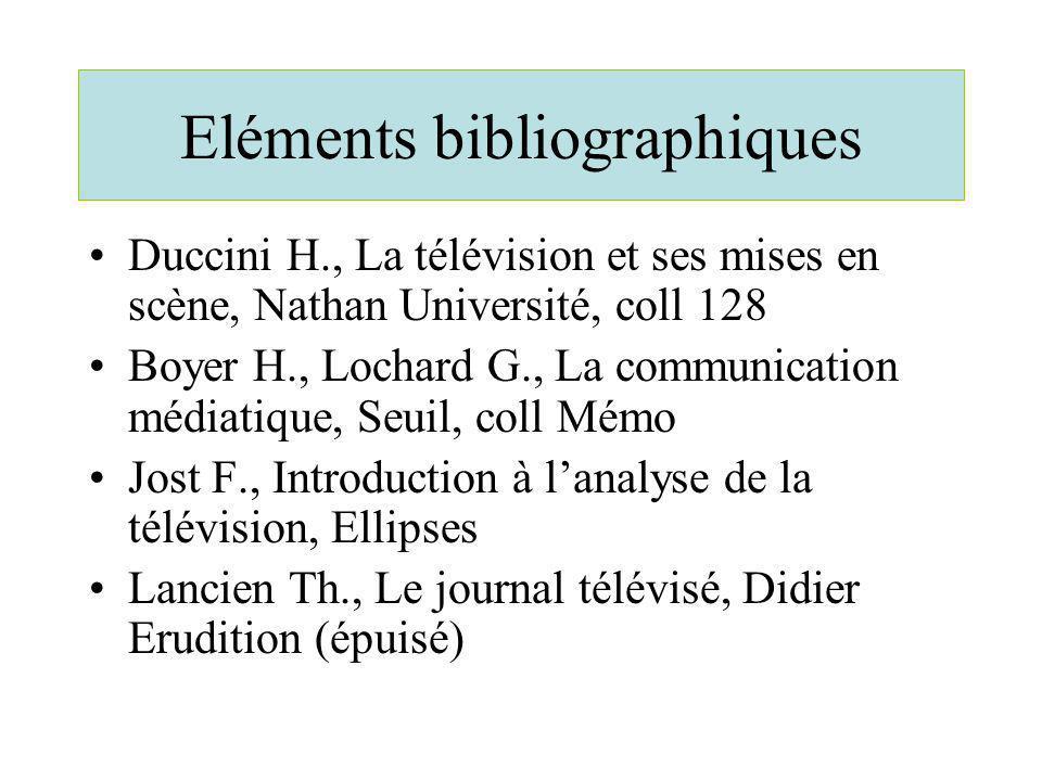 Eléments bibliographiques Duccini H., La télévision et ses mises en scène, Nathan Université, coll 128 Boyer H., Lochard G., La communication médiatiq