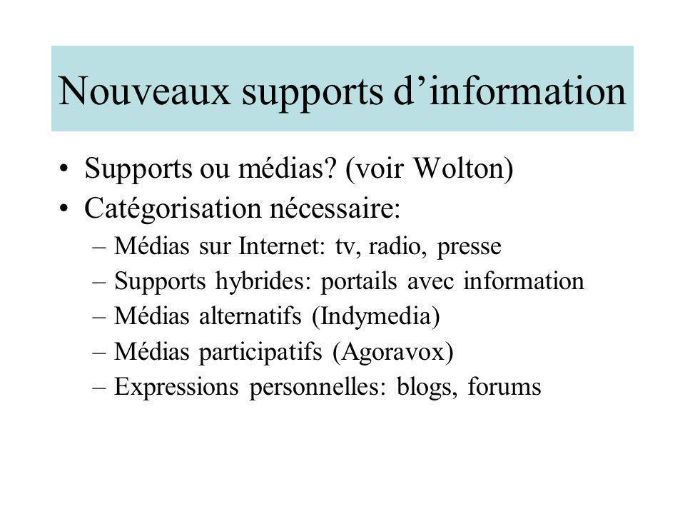 Nouveaux supports dinformation Supports ou médias? (voir Wolton) Catégorisation nécessaire: –Médias sur Internet: tv, radio, presse –Supports hybrides
