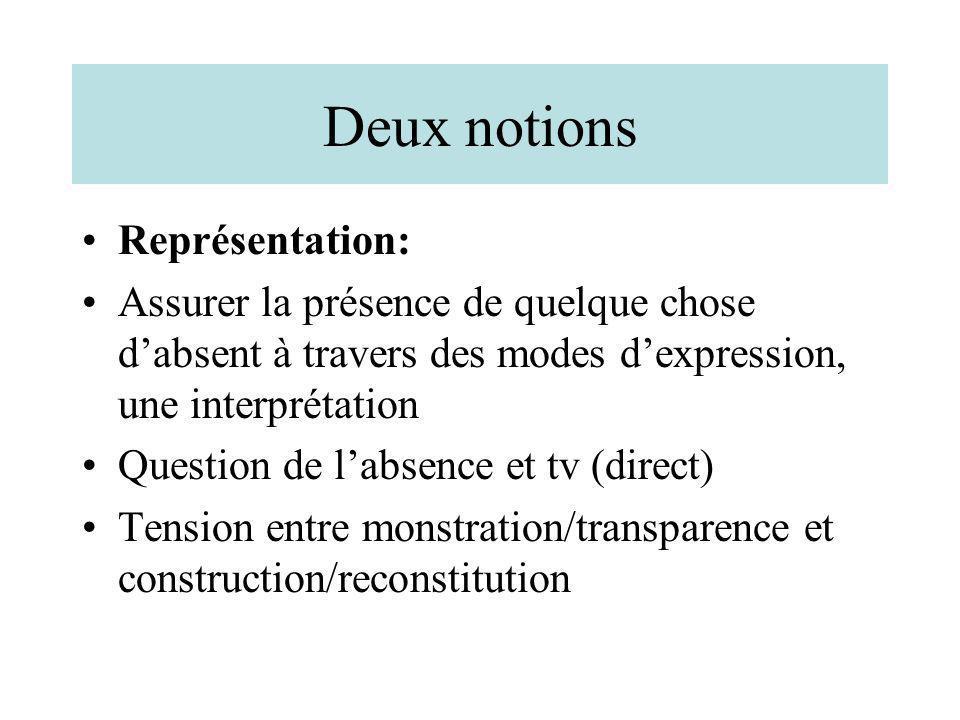 Deux notions Représentation: Assurer la présence de quelque chose dabsent à travers des modes dexpression, une interprétation Question de labsence et
