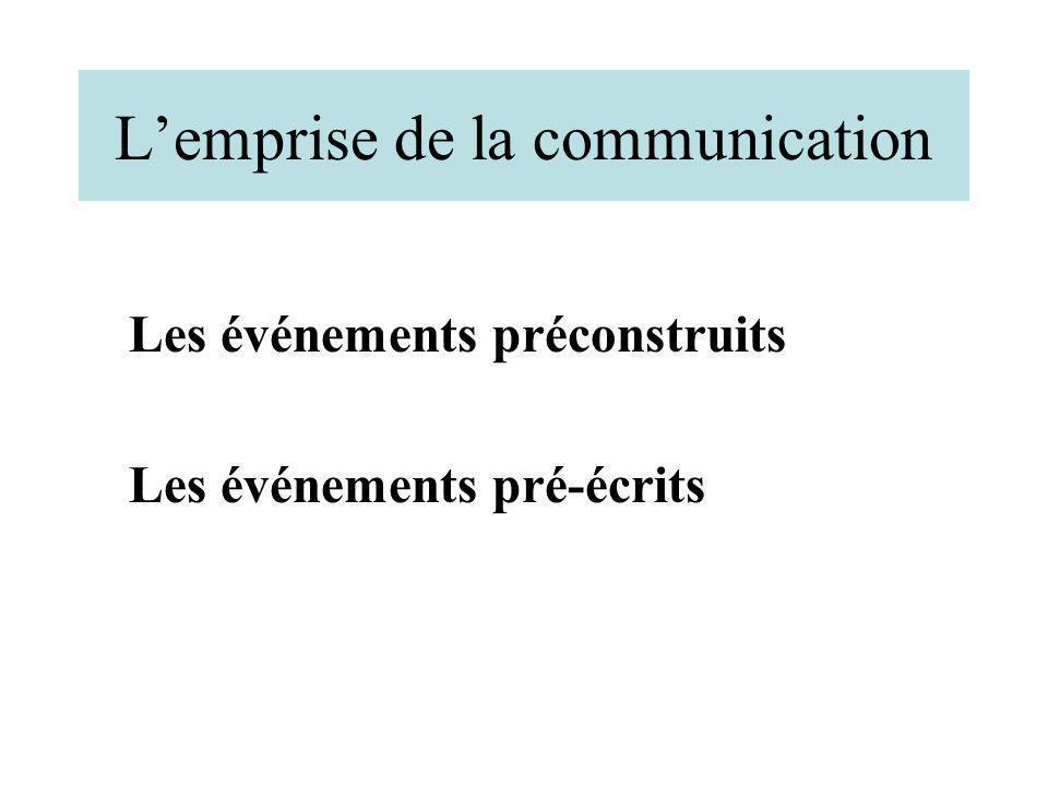 Lemprise de la communication Les événements préconstruits Les événements pré-écrits