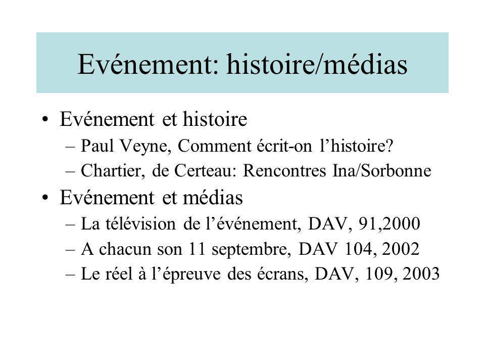 Evénement: histoire/médias Evénement et histoire –Paul Veyne, Comment écrit-on lhistoire? –Chartier, de Certeau: Rencontres Ina/Sorbonne Evénement et
