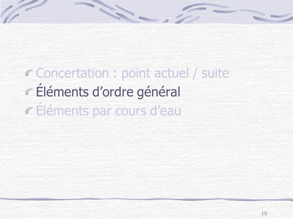 10 Concertation : point actuel / suite Éléments dordre général Éléments par cours deau