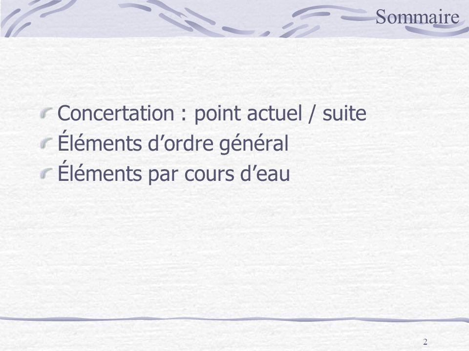 2 Concertation : point actuel / suite Éléments dordre général Éléments par cours deau Sommaire