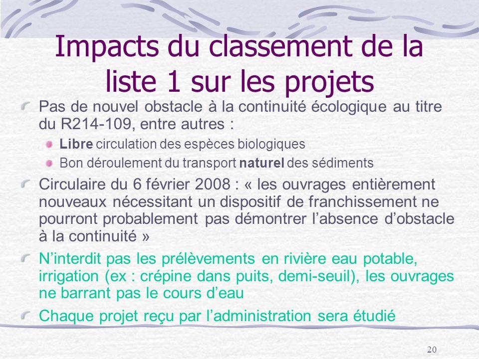 20 Impacts du classement de la liste 1 sur les projets Pas de nouvel obstacle à la continuité écologique au titre du R214-109, entre autres : Libre ci
