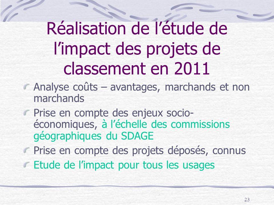 23 Réalisation de létude de limpact des projets de classement en 2011 Analyse coûts – avantages, marchands et non marchands Prise en compte des enjeux
