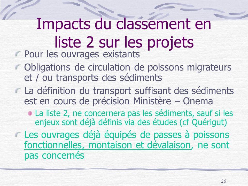 26 Impacts du classement en liste 2 sur les projets Pour les ouvrages existants Obligations de circulation de poissons migrateurs et / ou transports d