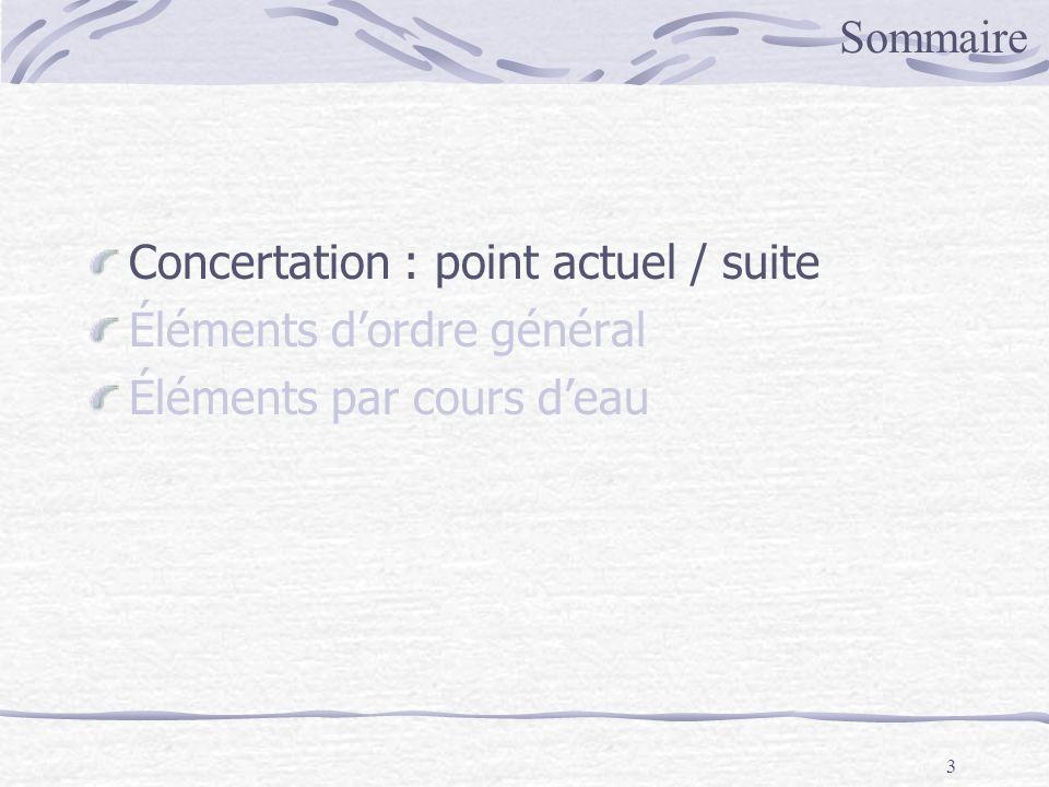 3 Concertation : point actuel / suite Éléments dordre général Éléments par cours deau