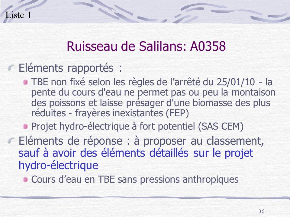 36 Ruisseau de Salilans: A0358 Eléments rapportés : TBE non fixé selon les règles de larrêté du 25/01/10 - la pente du cours d'eau ne permet pas ou pe