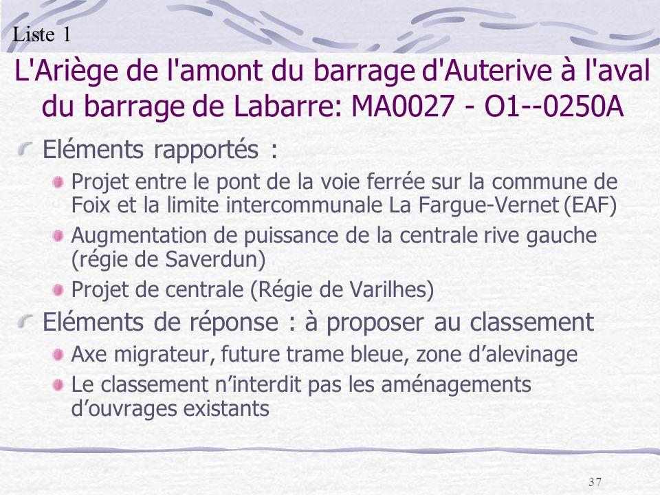 37 L'Ariège de l'amont du barrage d'Auterive à l'aval du barrage de Labarre: MA0027 - O1--0250A Eléments rapportés : Projet entre le pont de la voie f