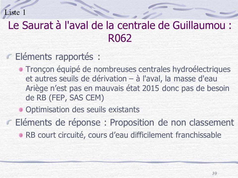 39 Le Saurat à l'aval de la centrale de Guillaumou : R062 Eléments rapportés : Tronçon équipé de nombreuses centrales hydroélectriques et autres seuil