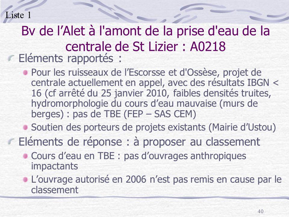 40 Bv de lAlet à l'amont de la prise d'eau de la centrale de St Lizier : A0218 Eléments rapportés : Pour les ruisseaux de lEscorsse et d'Ossèse, proje