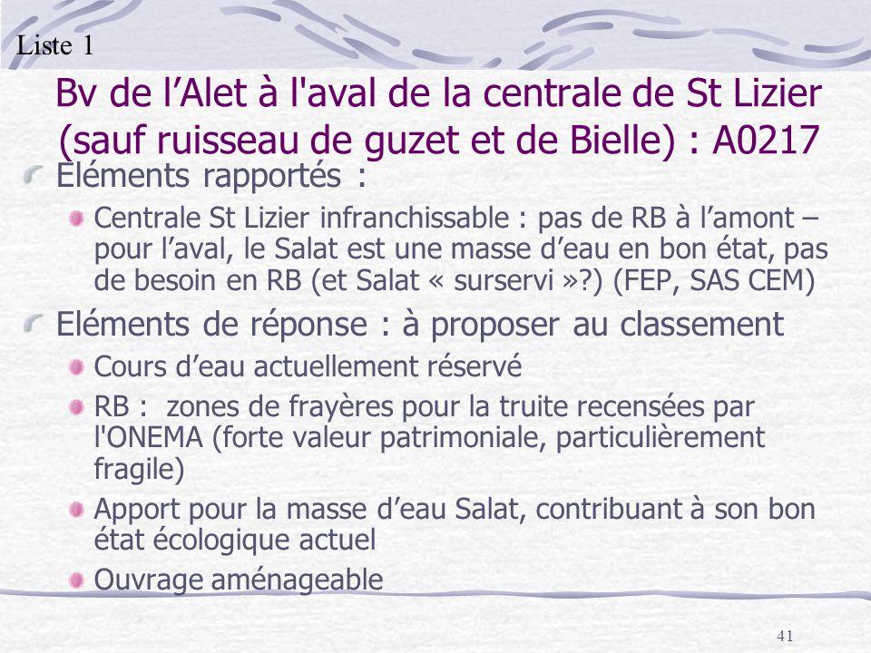 41 Bv de lAlet à l'aval de la centrale de St Lizier (sauf ruisseau de guzet et de Bielle) : A0217 Eléments rapportés : Centrale St Lizier infranchissa