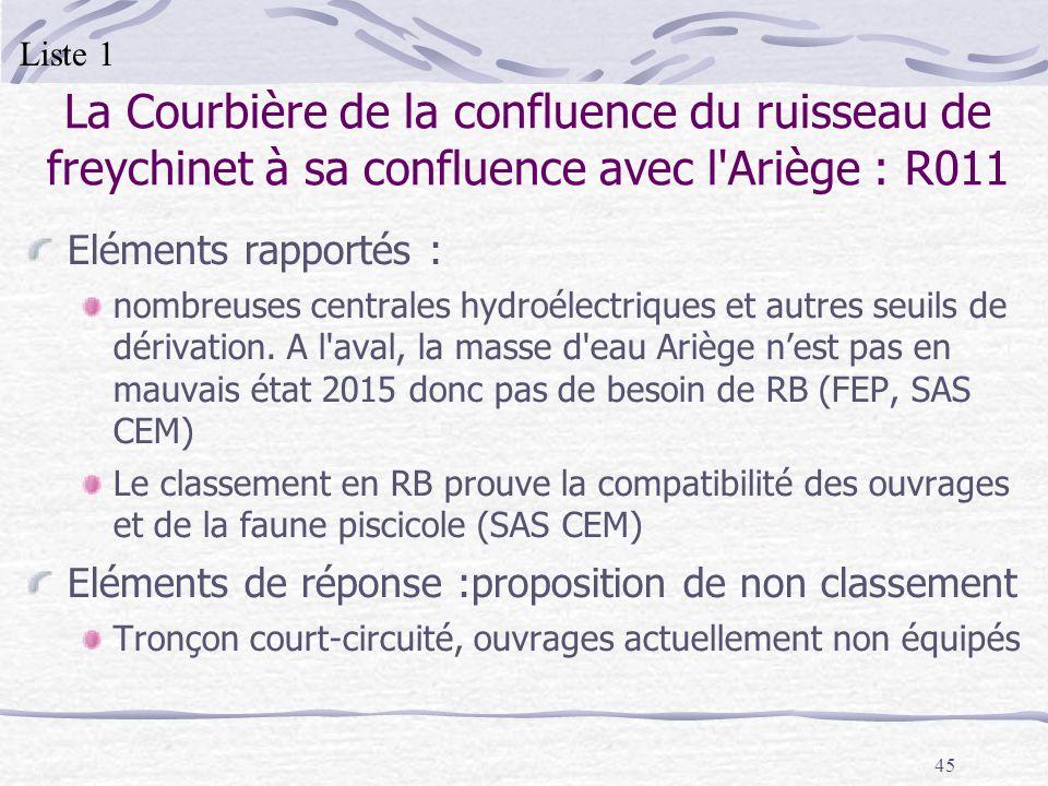 45 La Courbière de la confluence du ruisseau de freychinet à sa confluence avec l'Ariège : R011 Eléments rapportés : nombreuses centrales hydroélectri