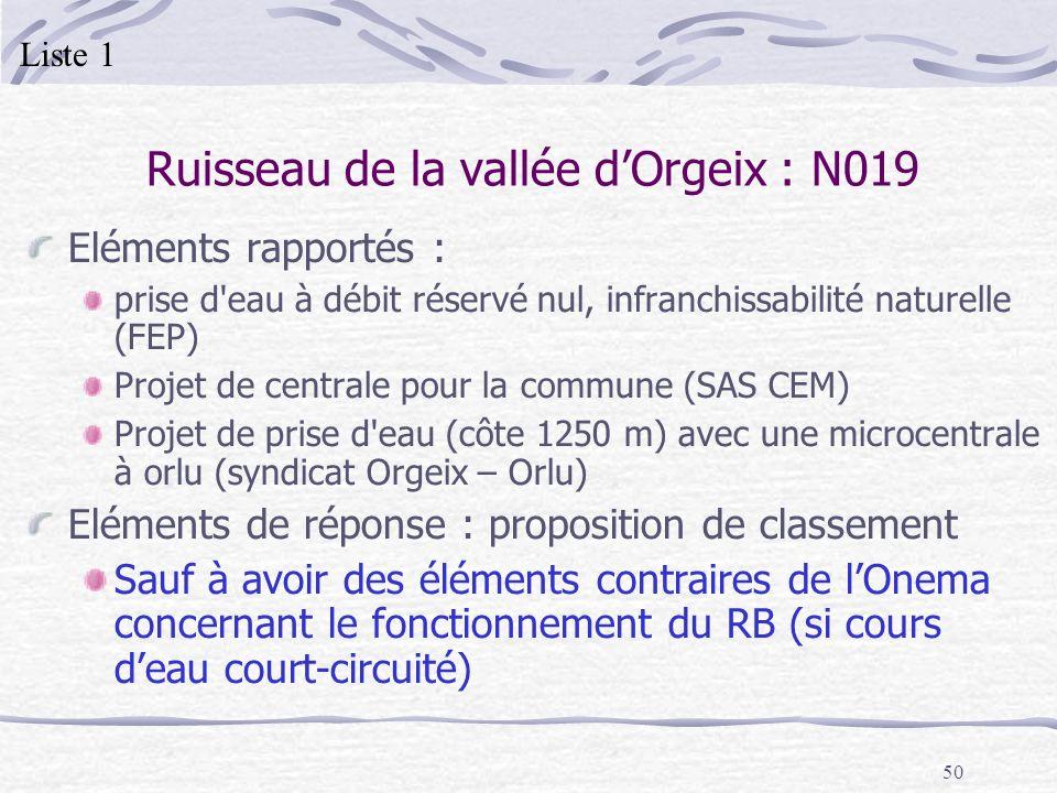 50 Ruisseau de la vallée dOrgeix : N019 Eléments rapportés : prise d'eau à débit réservé nul, infranchissabilité naturelle (FEP) Projet de centrale po
