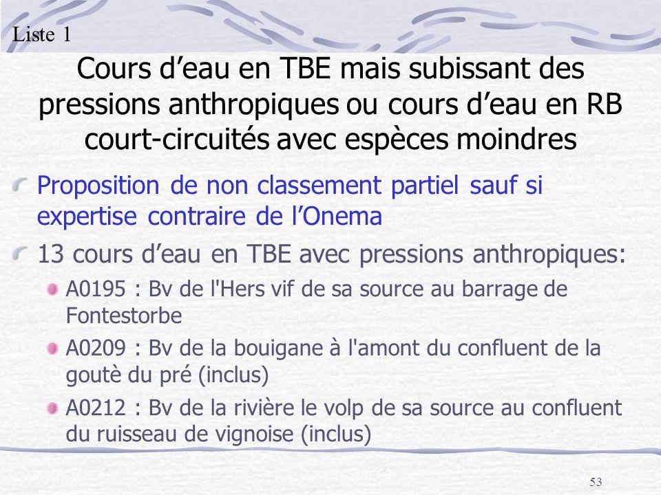 53 Cours deau en TBE mais subissant des pressions anthropiques ou cours deau en RB court-circuités avec espèces moindres Proposition de non classement