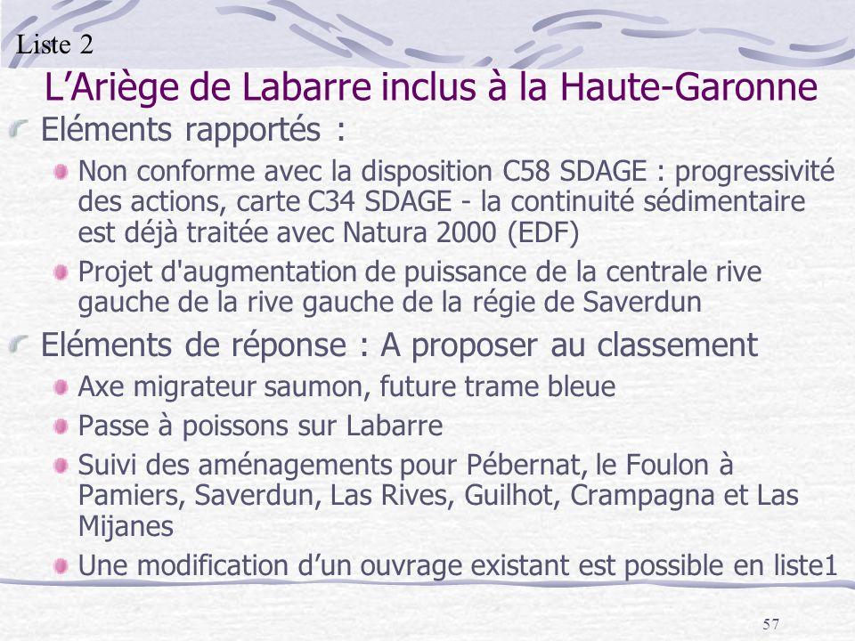 57 LAriège de Labarre inclus à la Haute-Garonne Eléments rapportés : Non conforme avec la disposition C58 SDAGE : progressivité des actions, carte C34