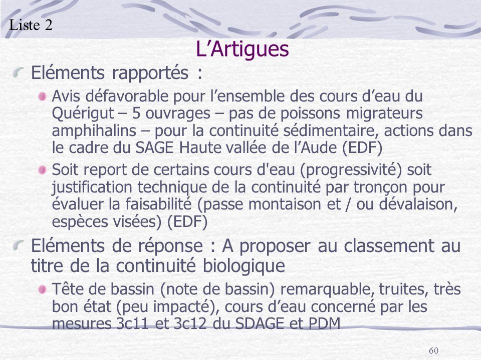 60 LArtigues Eléments rapportés : Avis défavorable pour lensemble des cours deau du Quérigut – 5 ouvrages – pas de poissons migrateurs amphihalins – p