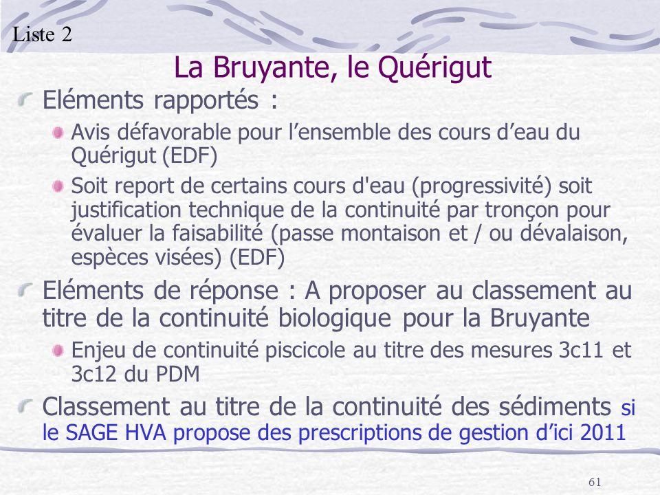 61 La Bruyante, le Quérigut Eléments rapportés : Avis défavorable pour lensemble des cours deau du Quérigut (EDF) Soit report de certains cours d'eau