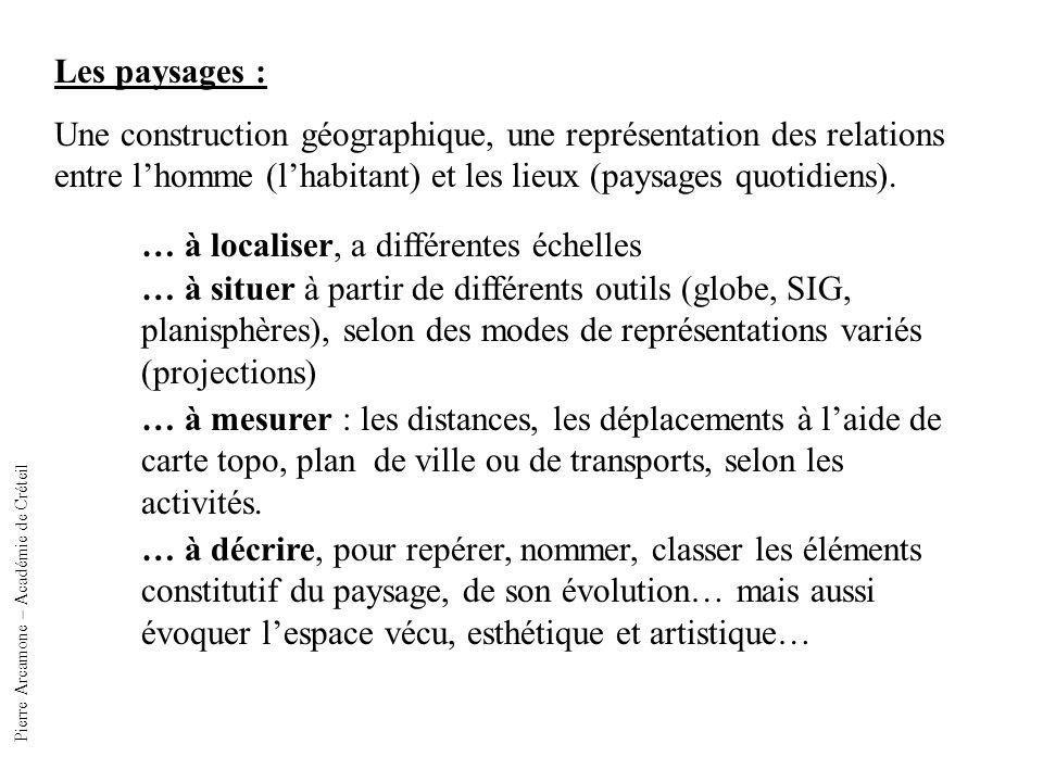 Les paysages : Une construction géographique, une représentation des relations entre lhomme (lhabitant) et les lieux (paysages quotidiens).
