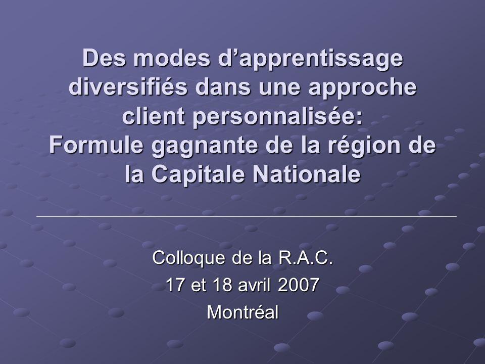 Des modes dapprentissage diversifiés dans une approche client personnalisée: Formule gagnante de la région de la Capitale Nationale Colloque de la R.A.C.