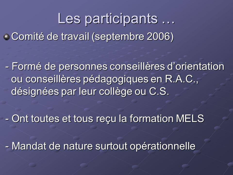 Les participants … Comité de travail (septembre 2006) - Formé de personnes conseillères dorientation ou conseillères pédagogiques en R.A.C., désignées par leur collège ou C.S.