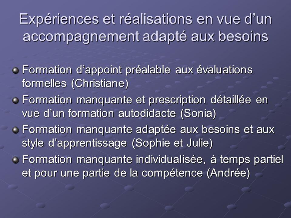 Expériences et réalisations en vue dun accompagnement adapté aux besoins Formation dappoint préalable aux évaluations formelles (Christiane) Formation