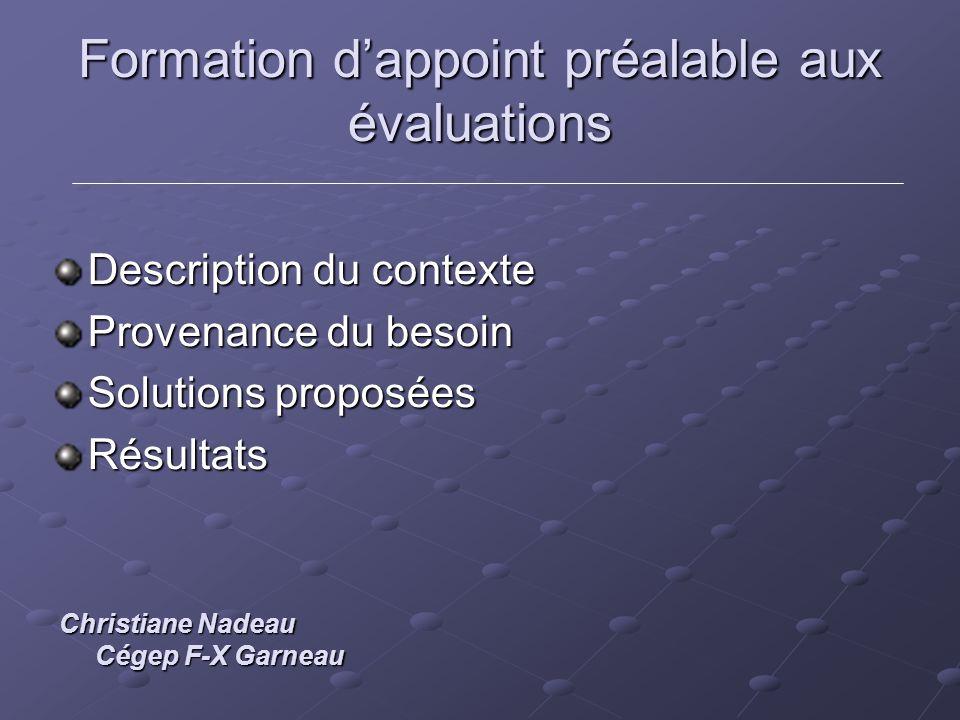 Formation dappoint préalable aux évaluations Description du contexte Provenance du besoin Solutions proposées Résultats Christiane Nadeau Cégep F-X Ga
