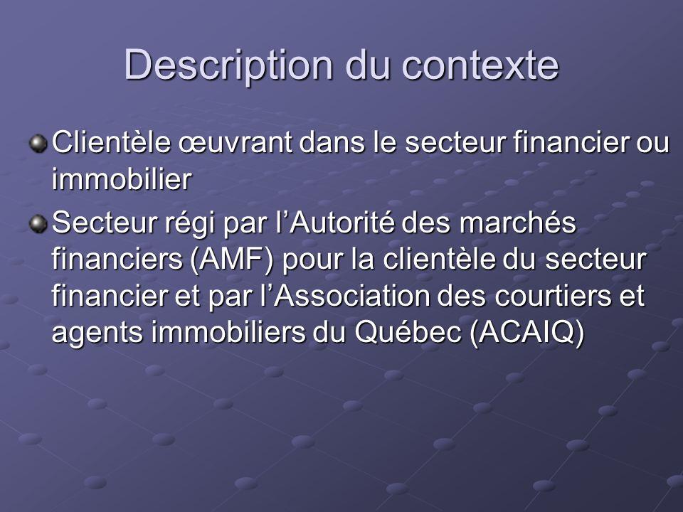 Description du contexte Clientèle œuvrant dans le secteur financier ou immobilier Secteur régi par lAutorité des marchés financiers (AMF) pour la clientèle du secteur financier et par lAssociation des courtiers et agents immobiliers du Québec (ACAIQ)