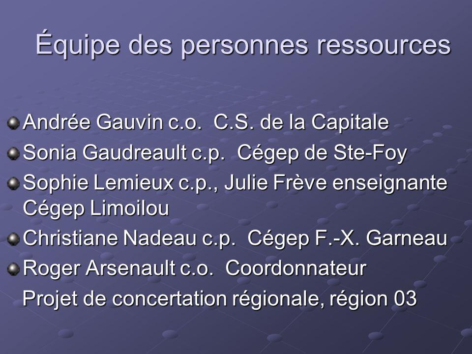 Équipe des personnes ressources Andrée Gauvin c.o. C.S. de la Capitale Sonia Gaudreault c.p. Cégep de Ste-Foy Sophie Lemieux c.p., Julie Frève enseign