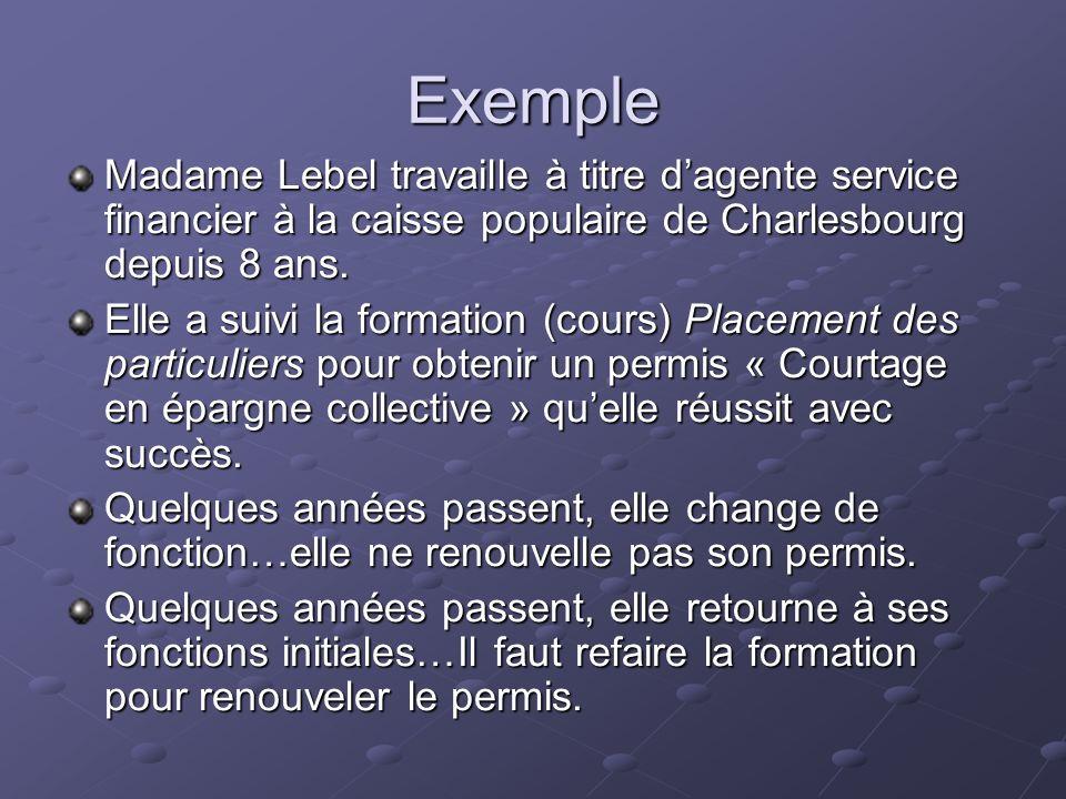 Exemple Madame Lebel travaille à titre dagente service financier à la caisse populaire de Charlesbourg depuis 8 ans. Elle a suivi la formation (cours)