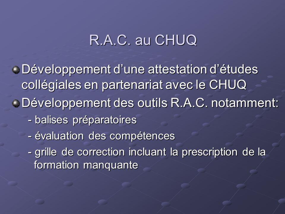 R.A.C. au CHUQ Développement dune attestation détudes collégiales en partenariat avec le CHUQ Développement des outils R.A.C. notamment: - balises pré