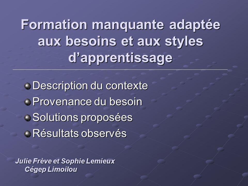 Formation manquante adaptée aux besoins et aux styles dapprentissage Description du contexte Provenance du besoin Solutions proposées Résultats observ