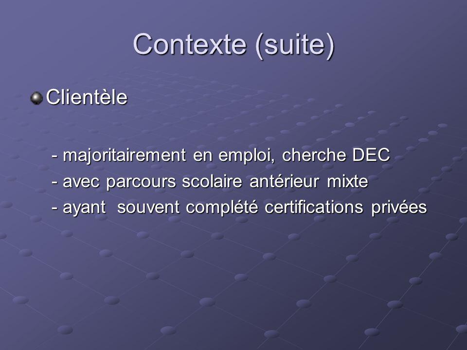 Contexte (suite) Clientèle - majoritairement en emploi, cherche DEC - avec parcours scolaire antérieur mixte - ayant souvent complété certifications privées