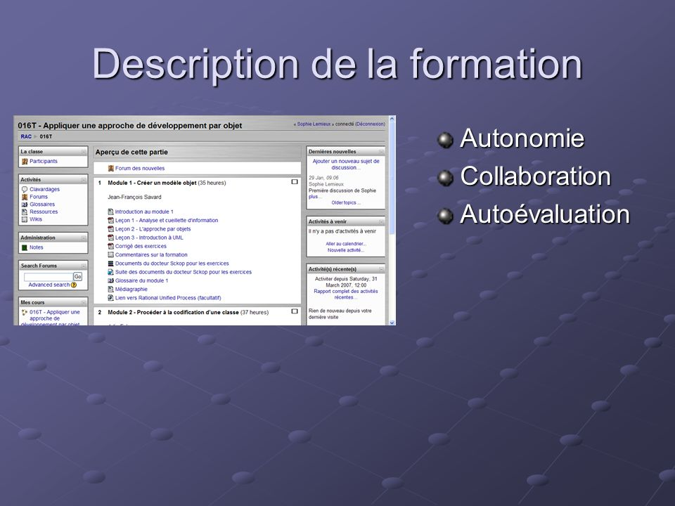 Description de la formation AutonomieCollaborationAutoévaluation