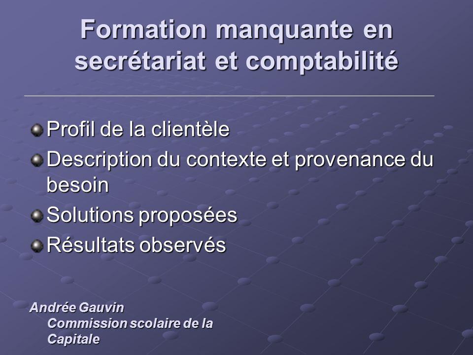 Formation manquante en secrétariat et comptabilité Profil de la clientèle Description du contexte et provenance du besoin Solutions proposées Résultat