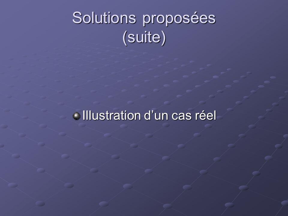 Solutions proposées (suite) Illustration dun cas réel