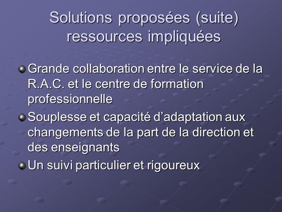 Solutions proposées (suite) ressources impliquées Grande collaboration entre le service de la R.A.C. et le centre de formation professionnelle Souples
