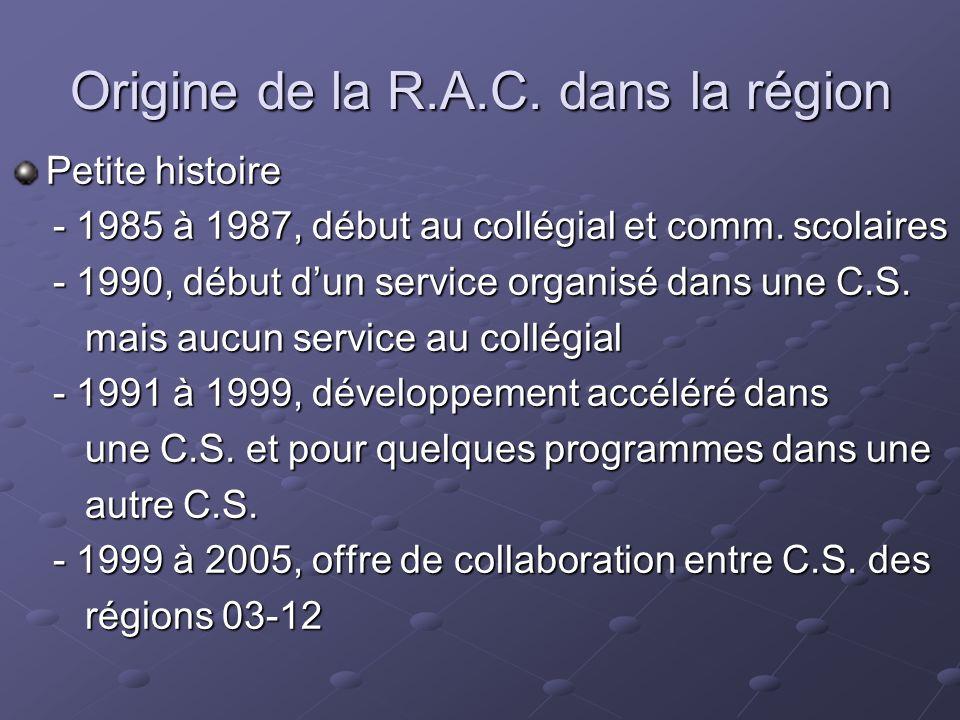 Origine de la R.A.C. dans la région Petite histoire - 1985 à 1987, début au collégial et comm. scolaires - 1985 à 1987, début au collégial et comm. sc