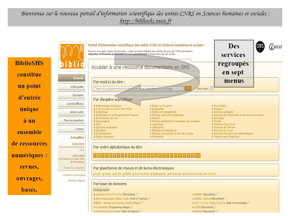 Bienvenue sur le nouveau portail dinformation scientifique des unités CNRS en Sciences humaines et sociales : http://biblioshs.inist.fr BiblioSHS cons