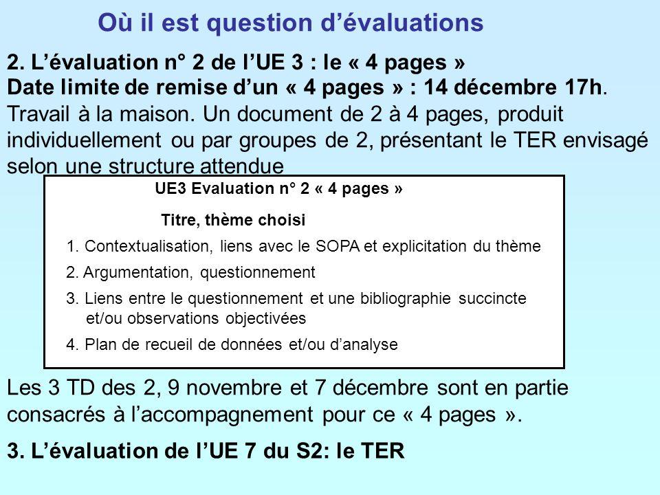 2. Lévaluation n° 2 de lUE 3 : le « 4 pages » 3. Lévaluation de lUE 7 du S2: le TER Les 3 TD des 2, 9 novembre et 7 décembre sont en partie consacrés