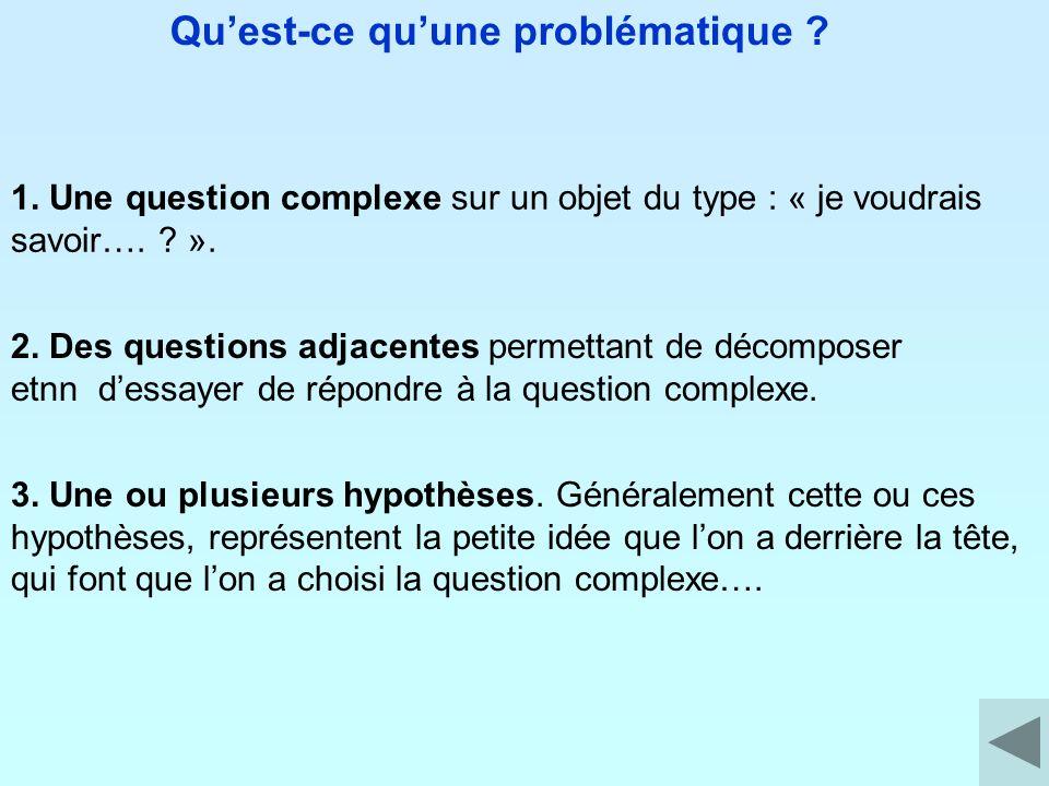Quest-ce quune problématique ? 1. Une question complexe sur un objet du type : « je voudrais savoir…. ? ». 2. Des questions adjacentes permettant de d