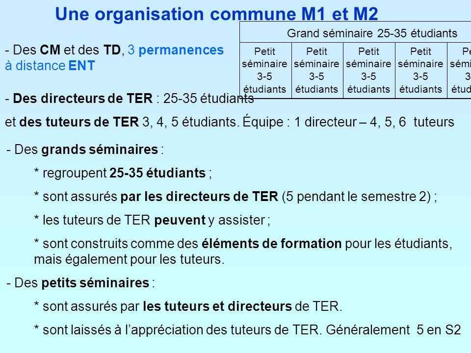 Une organisation commune M1 et M2 - Des CM et des TD, 3 permanences à distance ENT - Des grands séminaires : * regroupent 25-35 étudiants ; * sont ass
