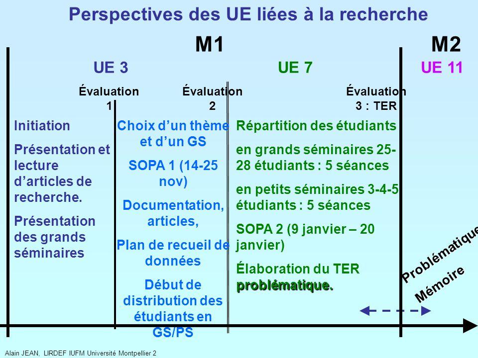 UE 3UE 7 Répartition des étudiants en grands séminaires 25- 28 étudiants : 5 séances en petits séminaires 3-4-5 étudiants : 5 séances SOPA 2 (9 janvie