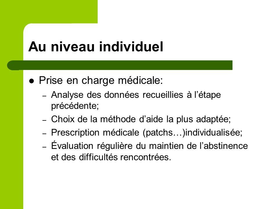 Au niveau individuel Prise en charge médicale: – Analyse des données recueillies à létape précédente; – Choix de la méthode daide la plus adaptée; – P