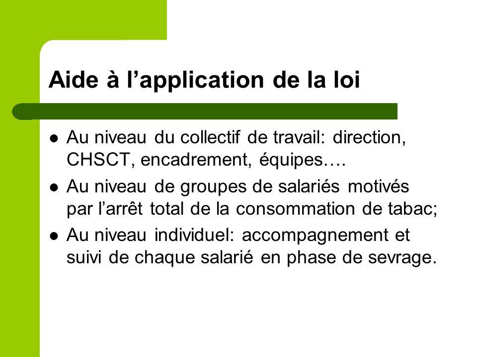 Aide à lapplication de la loi Au niveau du collectif de travail: direction, CHSCT, encadrement, équipes…. Au niveau de groupes de salariés motivés par