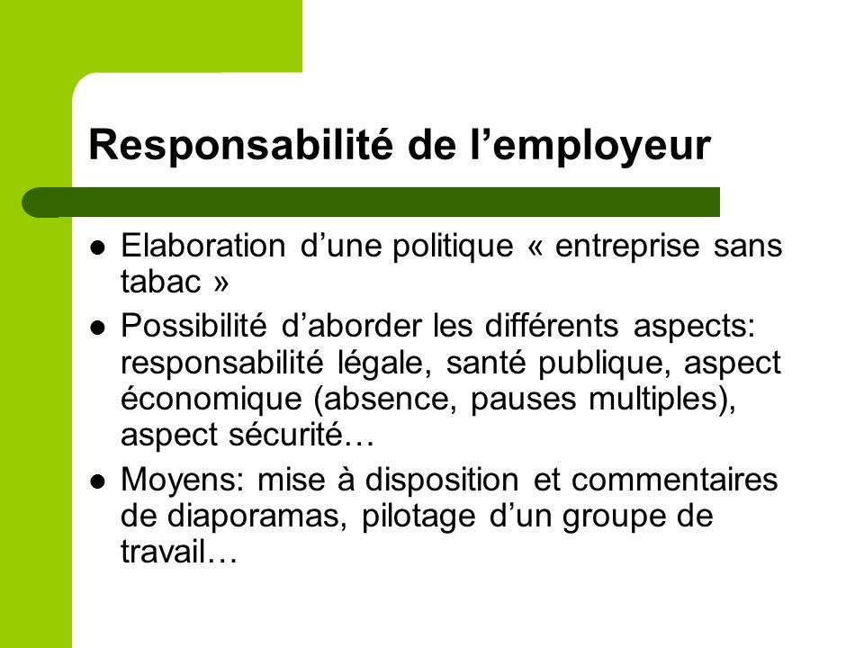 Responsabilité de lemployeur Elaboration dune politique « entreprise sans tabac » Possibilité daborder les différents aspects: responsabilité légale,