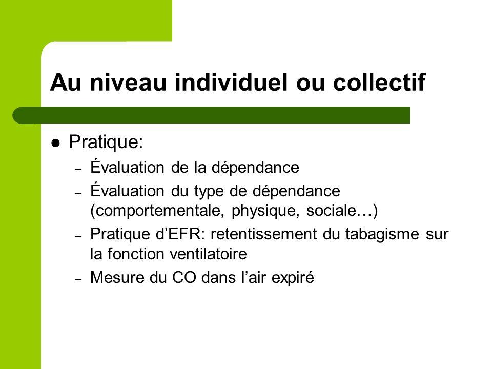Au niveau individuel ou collectif Pratique: – Évaluation de la dépendance – Évaluation du type de dépendance (comportementale, physique, sociale…) – P