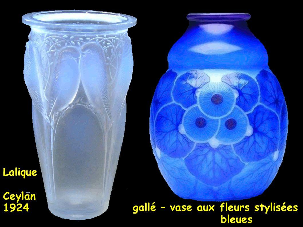 gallé – vase aux fleurs stylisées bleues Lalique Ceylan 1924